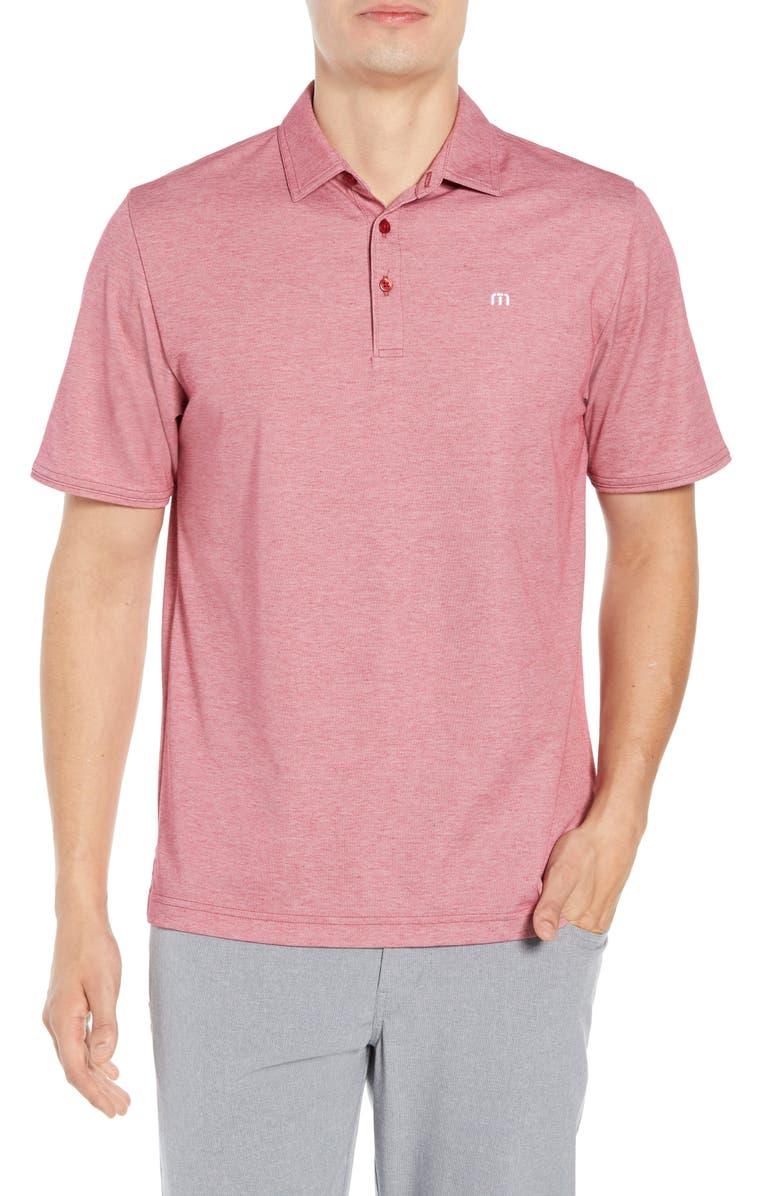 TRAVISMATHEW Classy Regular Fit Jersey Polo, Main, color, HEATHER CARDINAL