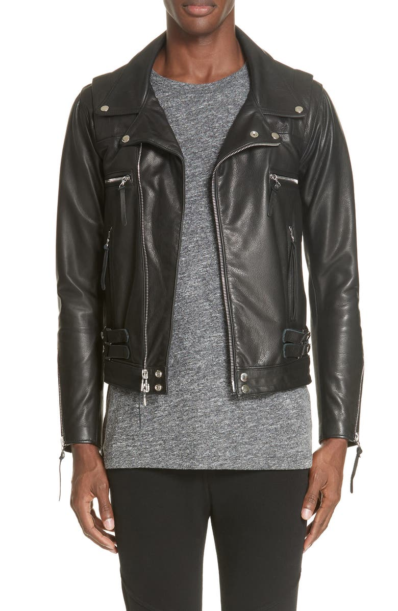 JOHN ELLIOTT Riders Slim Fit Leather Jacket, Main, color, 001
