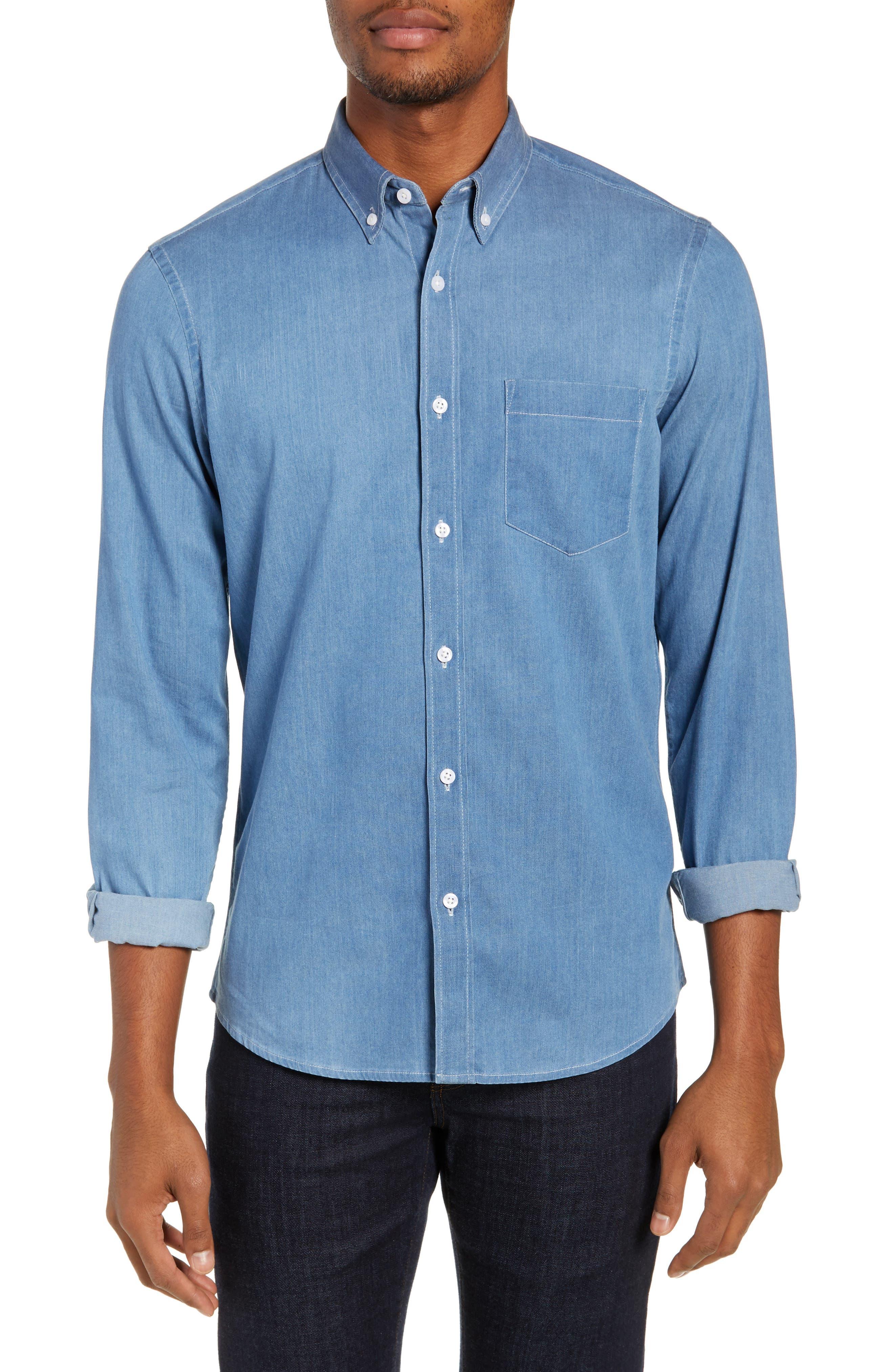 Nordstrom Shop Trim Fit Chambray Sport Shirt, Blue