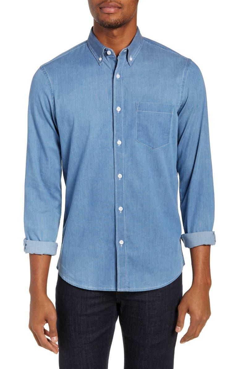 NORDSTROM MEN'S SHOP Trim Fit Chambray Sport Shirt, Main, color, 450