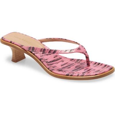 Sies Marjan Alix Lizard Embossed Sandal, Pink