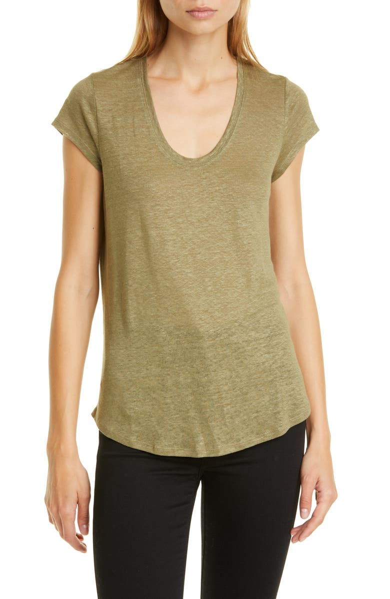 NORDSTROM SIGNATURE Scoop Neck Linen Tee, Main, color, OLIVE DUSK