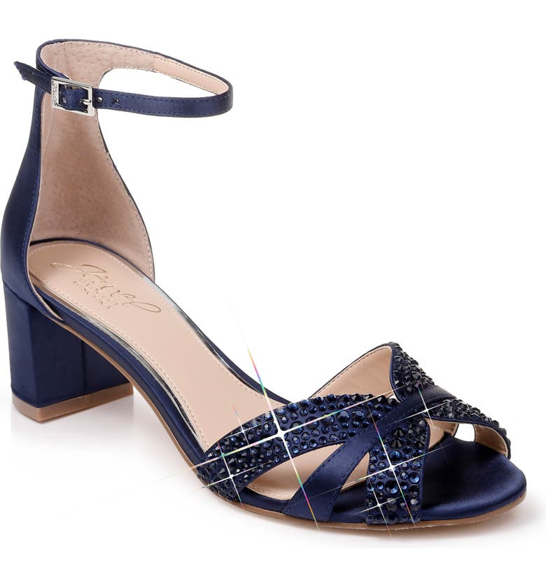 JEWEL BADGLEY MISCHKA Sequoia Crystal Embellished Ankle Strap Sandal, Main, color, NAVY SATIN