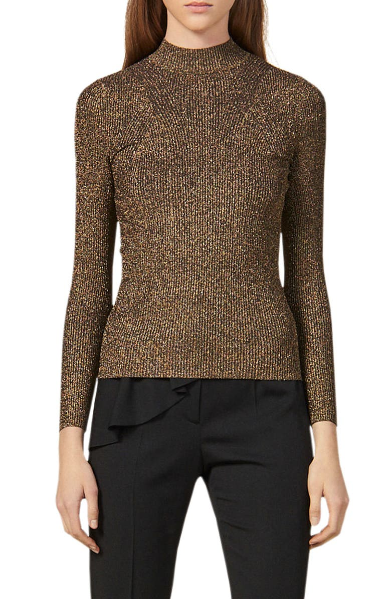 SANDRO Shinny Mock Neck Sweater, Main, color, GOLD