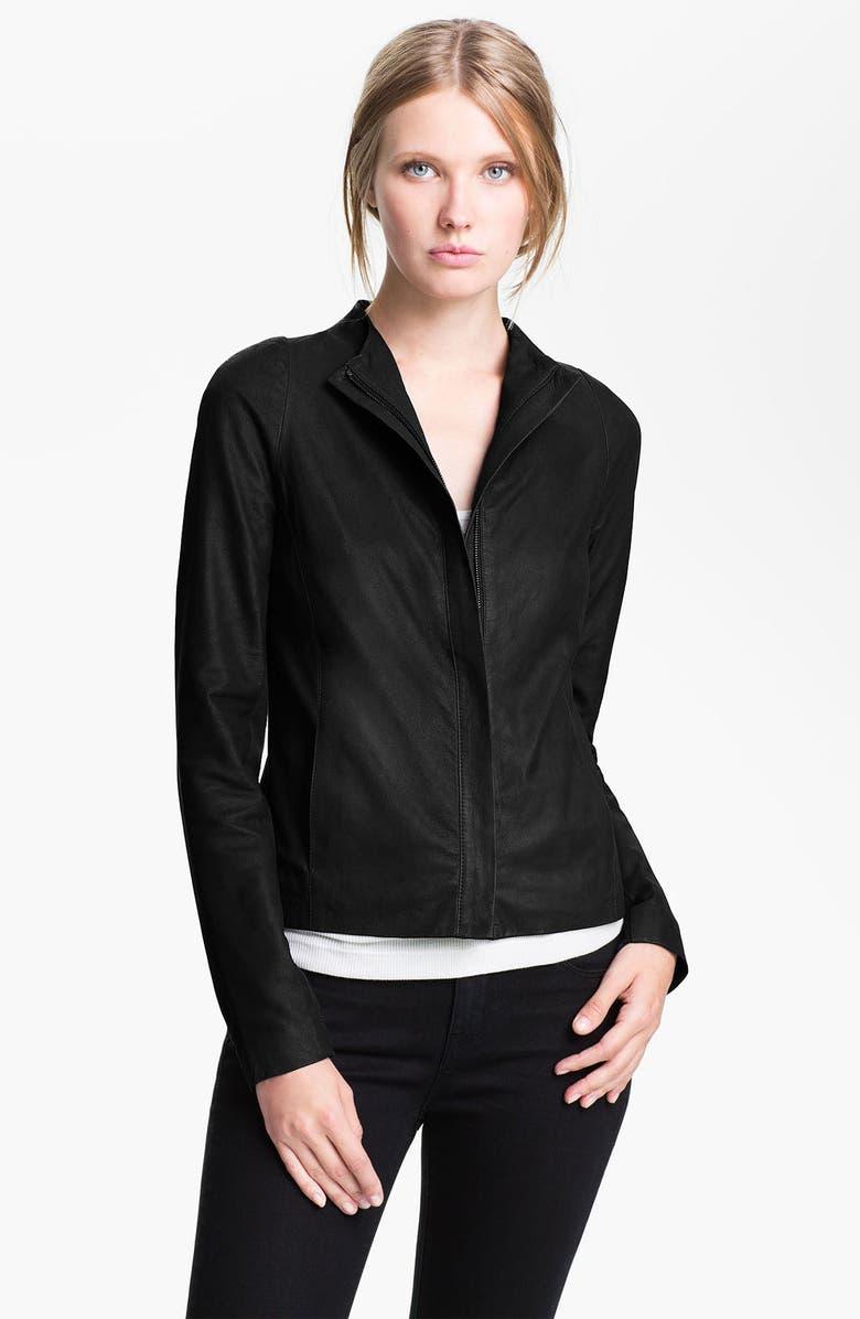 VINCE Leather Jacket, Main, color, 001