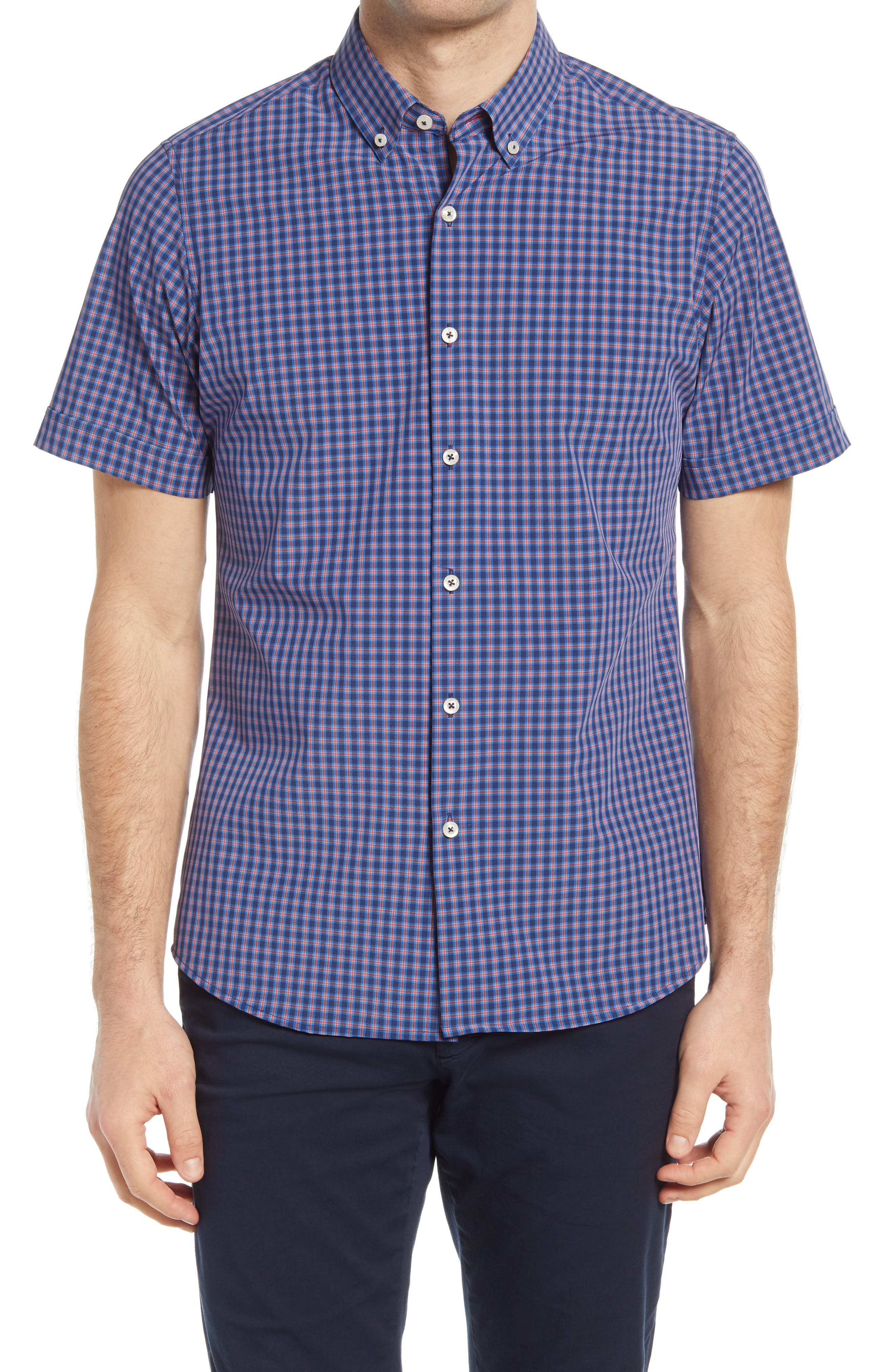 Plaid Short Sleeve Button-Down Shirt
