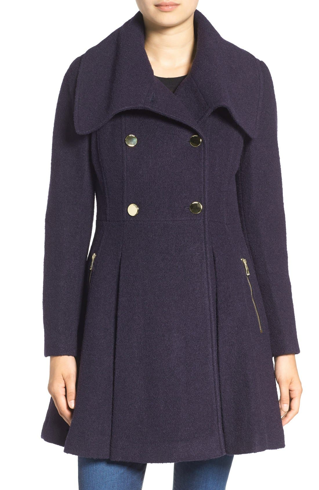 ,                             Envelope Collar Double Breasted Coat,                             Main thumbnail 6, color,                             410