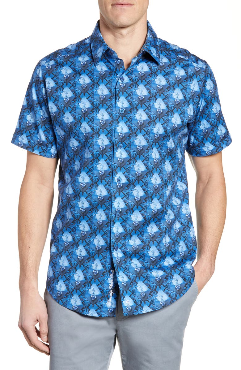 ROBERT GRAHAM Robeson Classic Fit Shirt, Main, color, NAVY