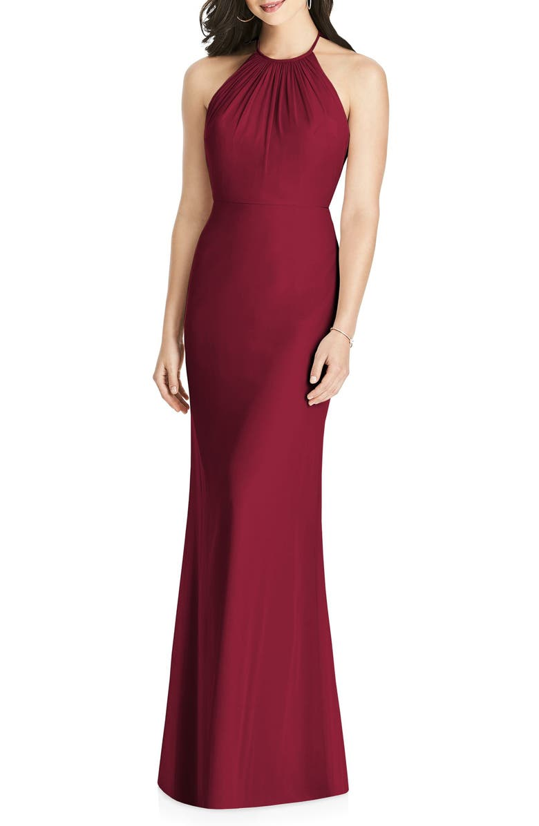 DESSY COLLECTION Ruffle Back Chiffon Halter Gown, Main, color, BURGUNDY
