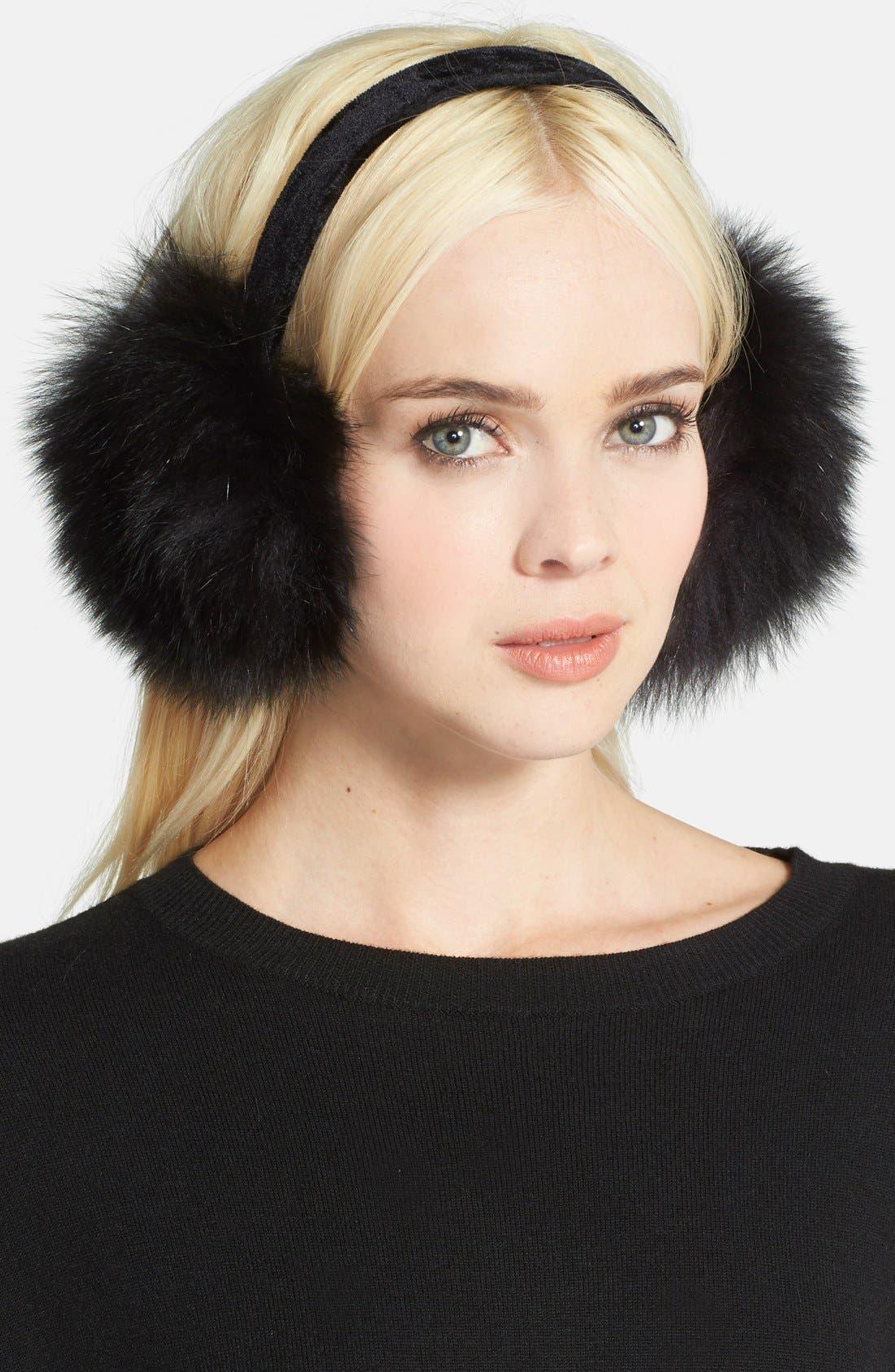 ,                             Genuine Fox Fur Earmuffs,                             Main thumbnail 9, color,                             001