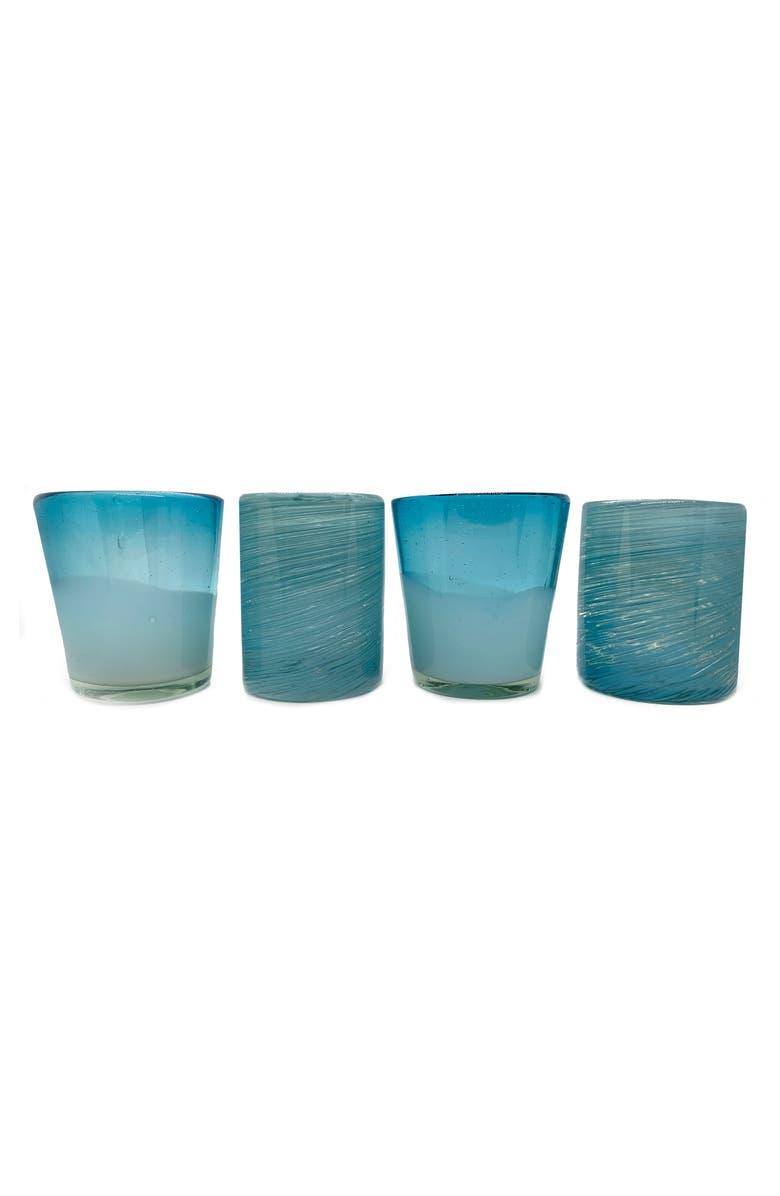 VERVE CULTURE Set of 4 Handblown Glasses, Main, color, AQUA
