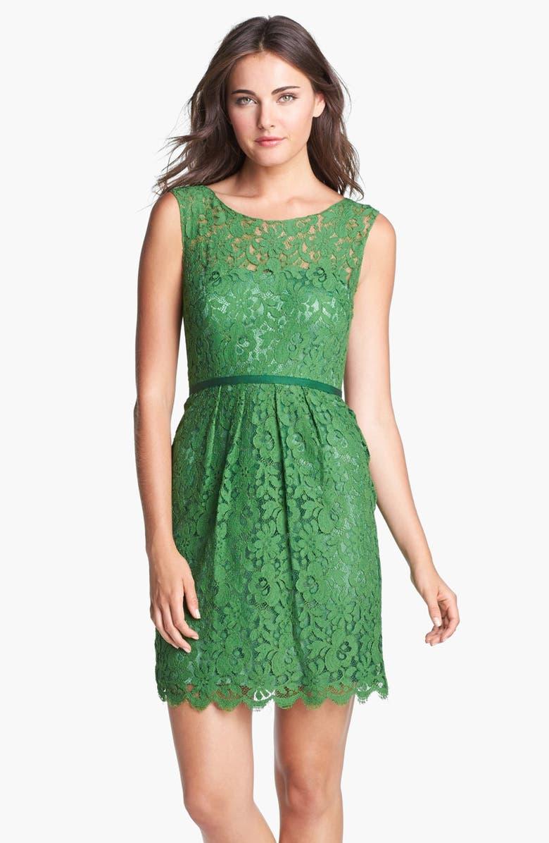 JENNY YOO Harlow Tea Lace Sheath Dress, Main, color, 300
