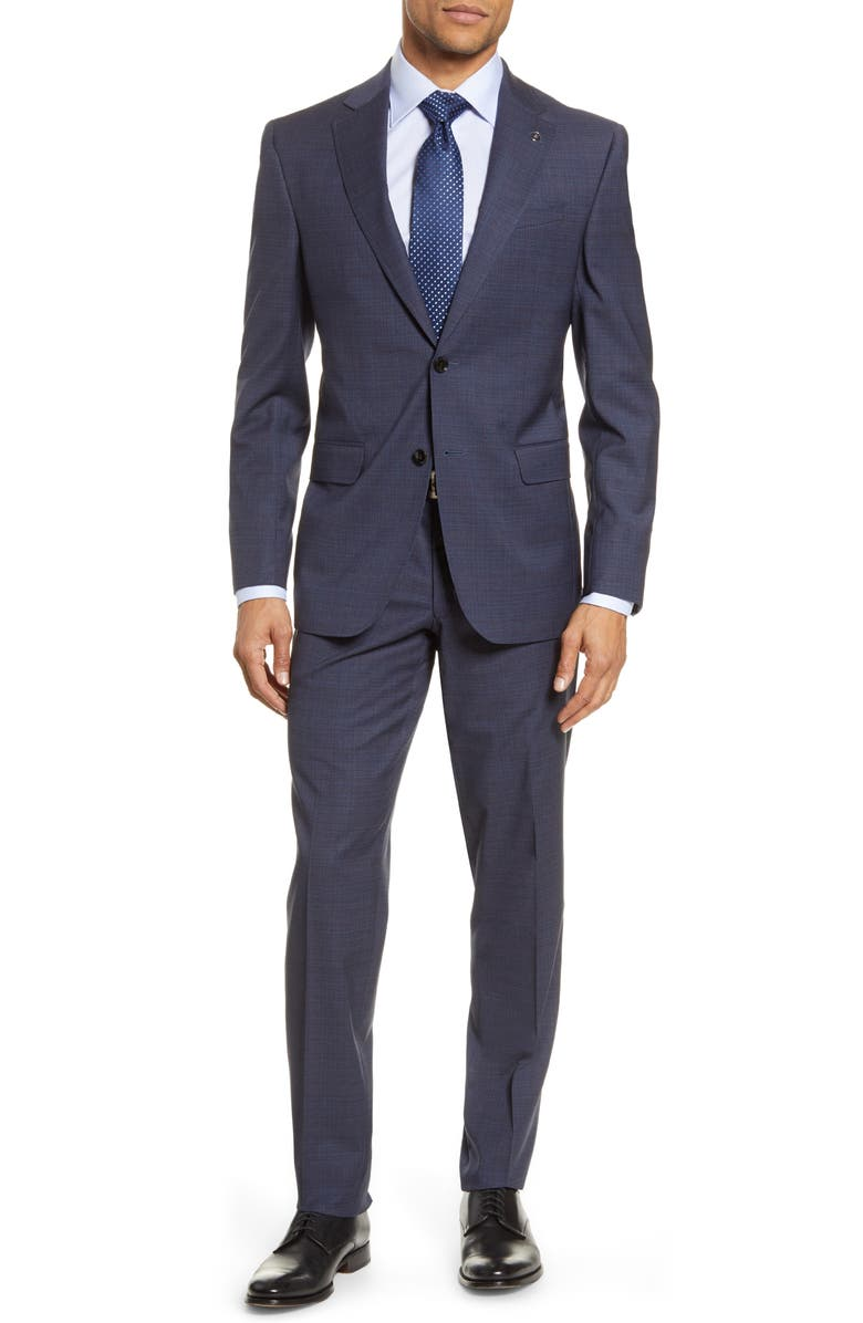 TED BAKER LONDON Jay Trim Fit Stretch Solid Wool Suit, Main, color, BLUE