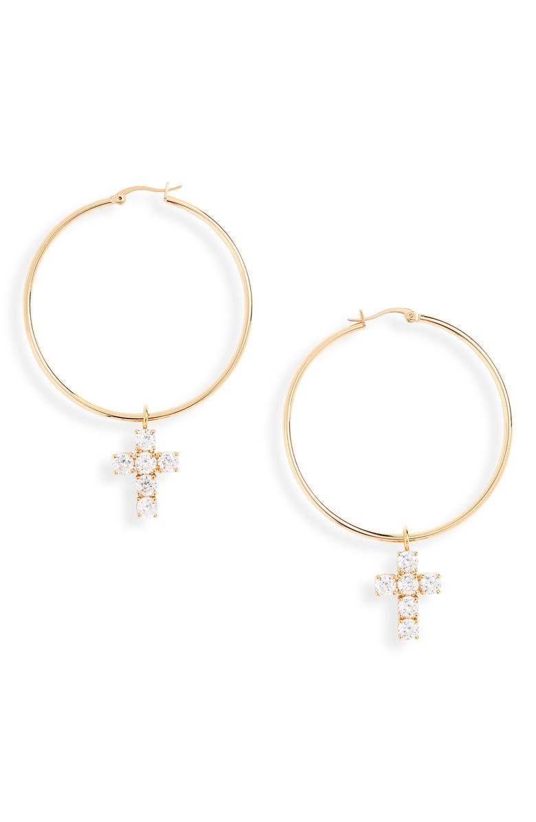 STERLING FOREVER Cross Hoop Earrings, Main, color, GOLD