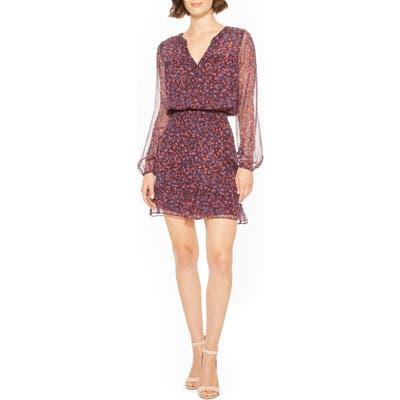 Parker Atticus Long Sleeve Blouson Dress, Purple