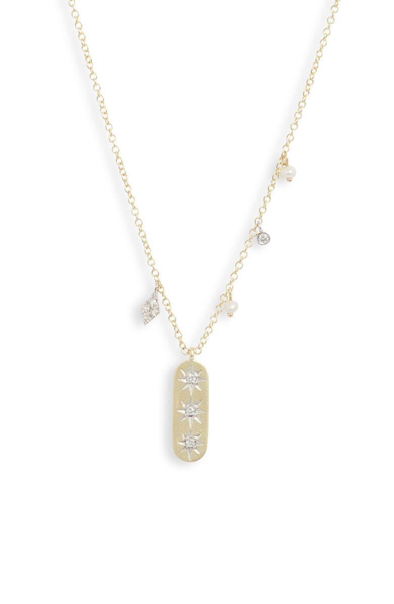 MEIRA T Pavé Diamond & Pearl Pendant Necklace, Main, color, YELLOW/ WHITE GOLD