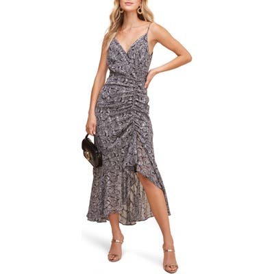 Astr The Label Mariah Ruched Floral Print Midi Dress