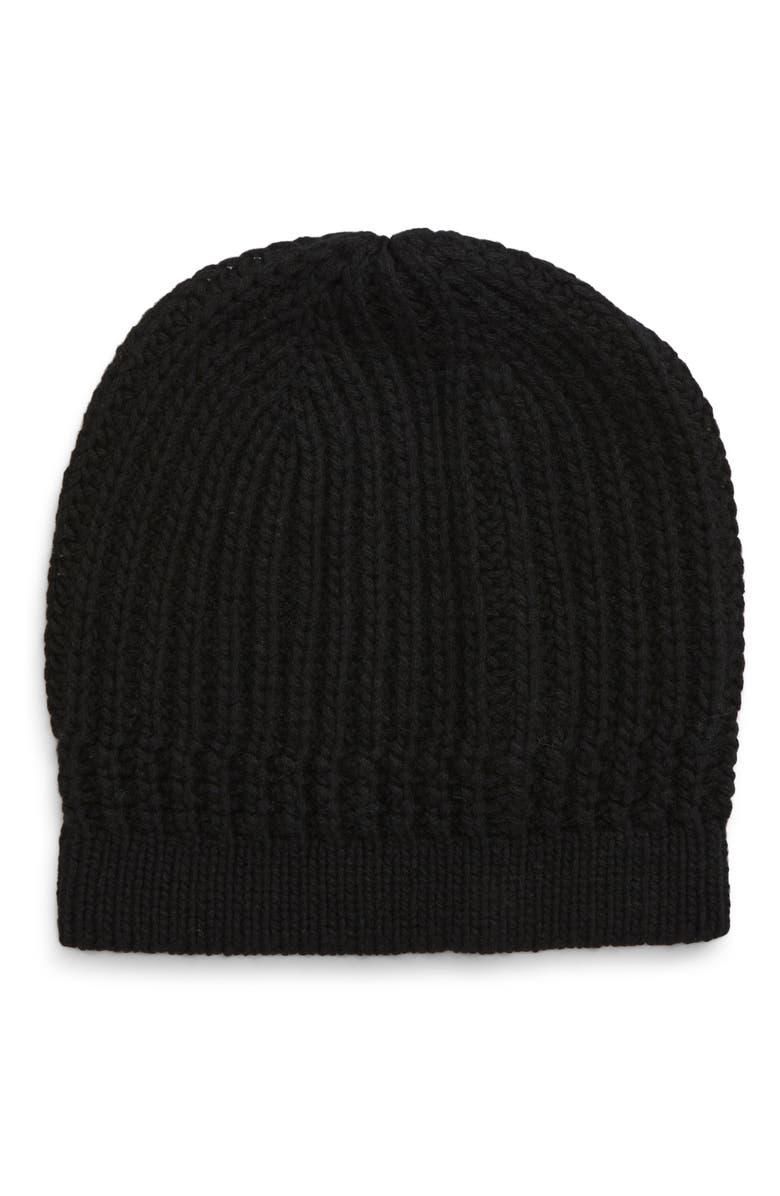 NORDSTROM SIGNATURE Essential Rib Cashmere Beanie, Main, color, BLACK