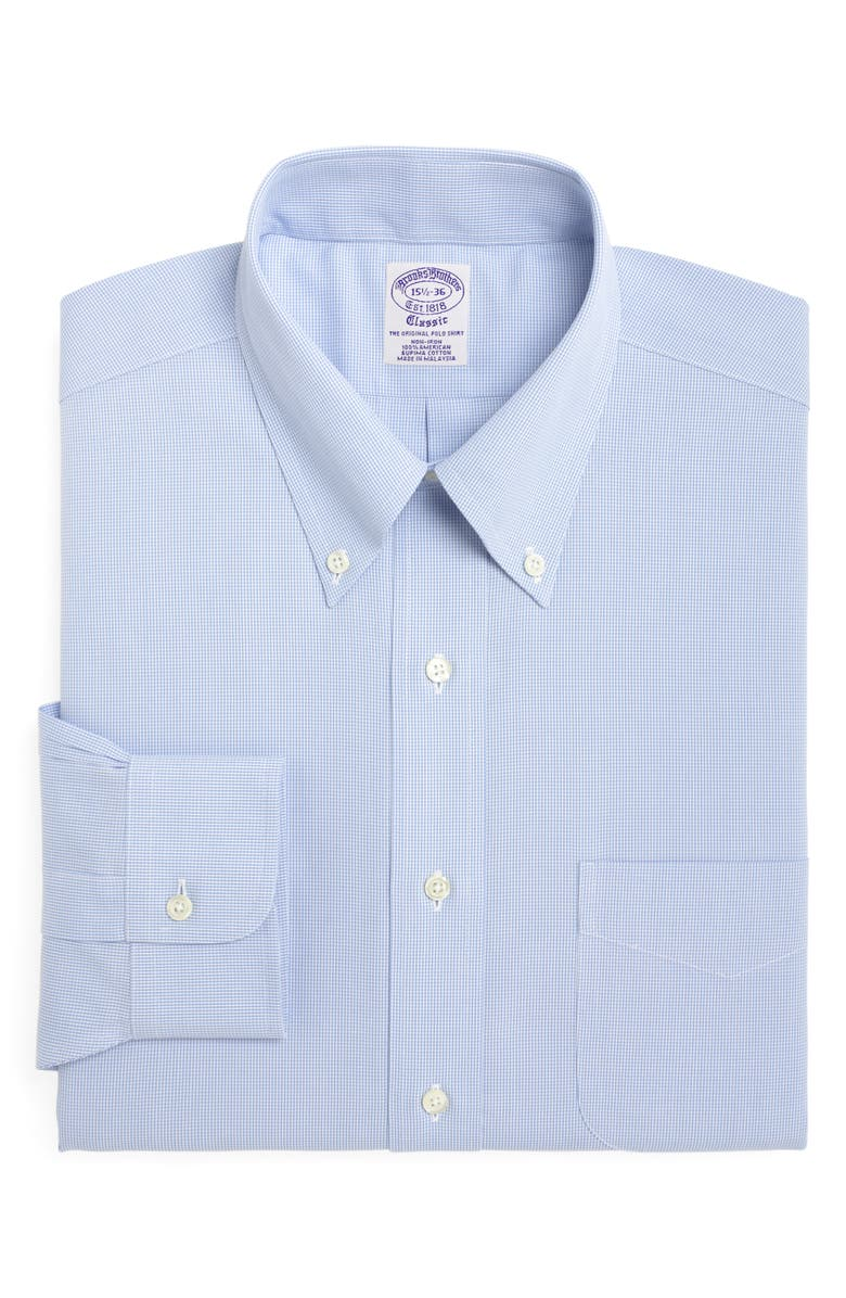 BROOKS BROTHERS Madison Classic Fit Houndstooth Dress Shirt, Main, color, LIGHT/ PASTEL BLUE