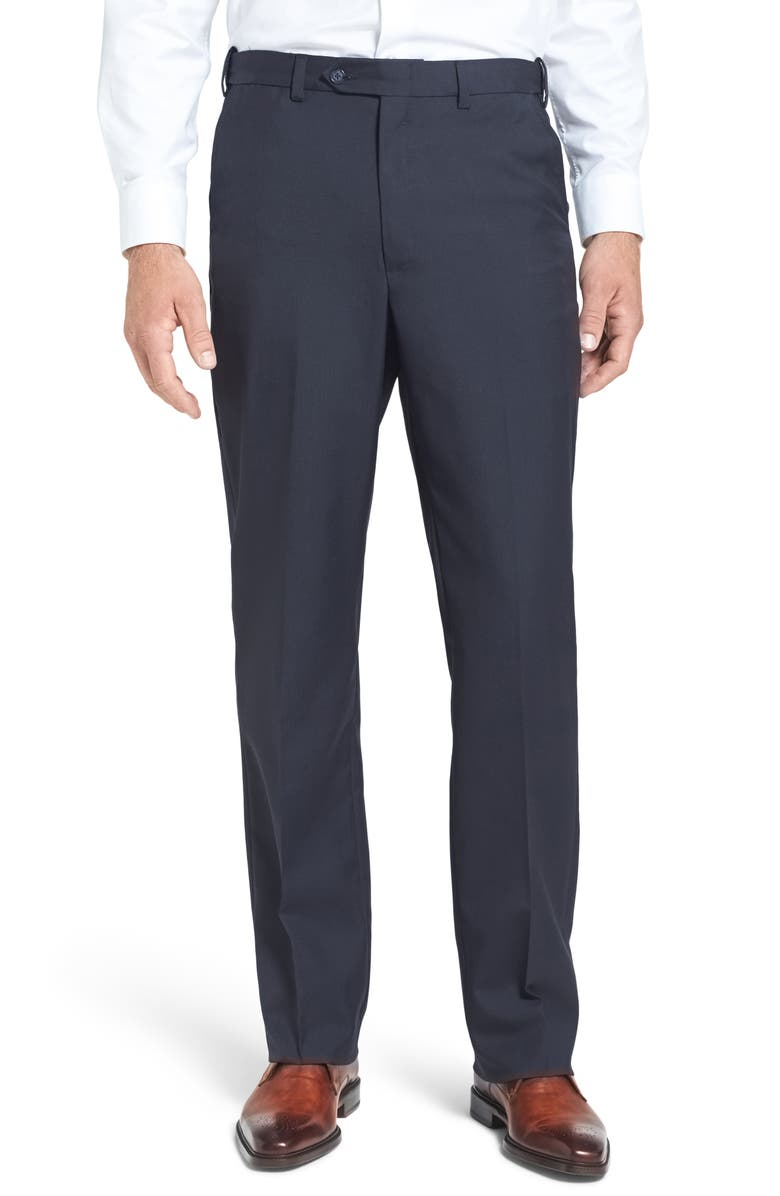 BERLE Self Sizer Waist Tropical Weight Flat Front Classic Fit Dress Pants, Main, color, NAVY
