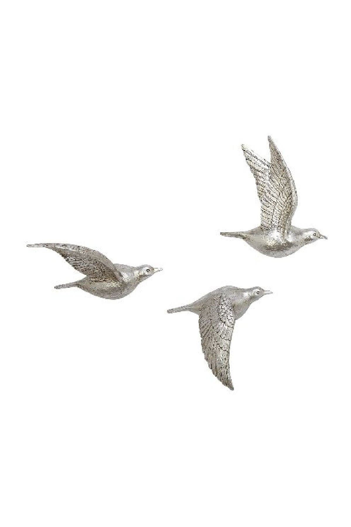 Image of Willow Row Eclectic Resin Birds in Flight Wall Decor - Set of 3