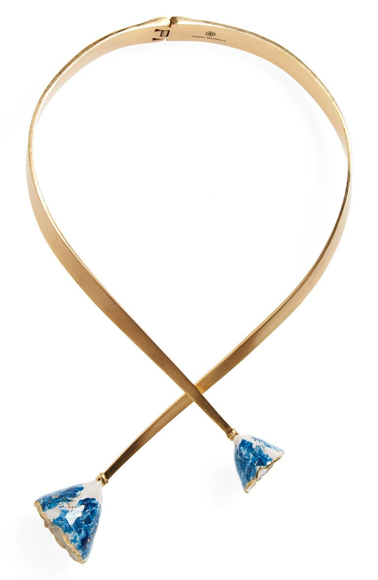 TORY BURCH Flower Bud Collar Necklace, Main, color, 400