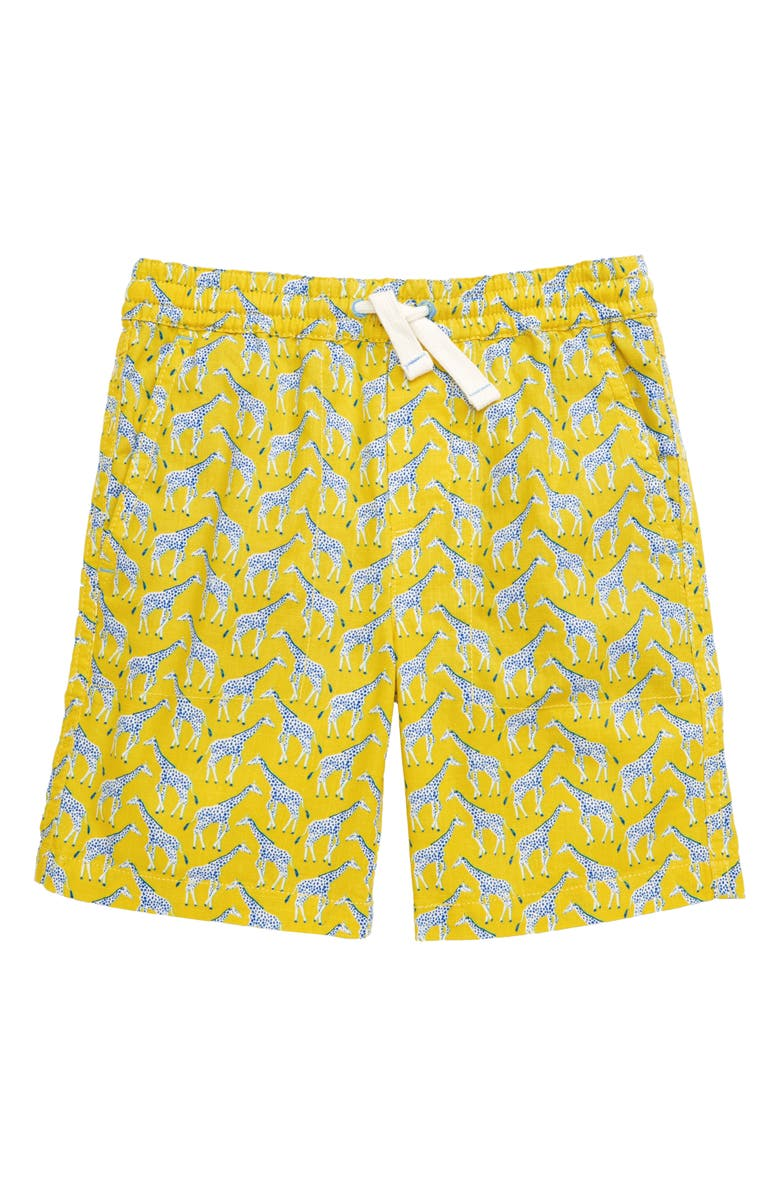 MINI BODEN Washed Canvas Pull-On Shorts, Main, color, YELLOW