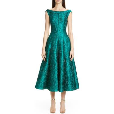 Talbot Runhof Rose Jacquard Fit & Flare Midi Dress, Blue/green