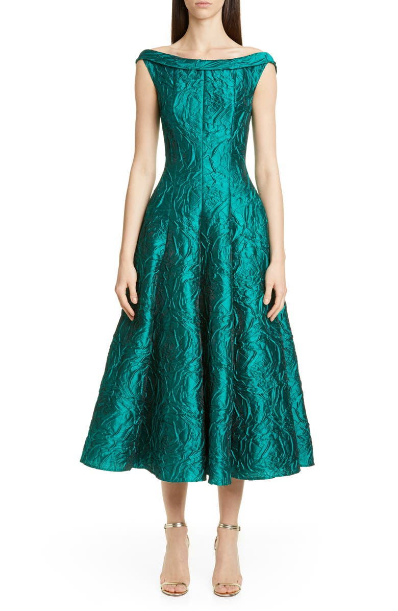 TALBOT RUNHOF Rose Jacquard Fit & Flare Midi Dress, Main, color, TEAL