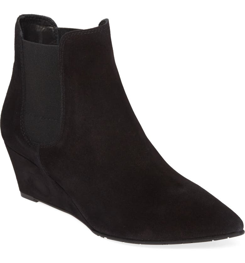 PEDRO GARCIA Olie Pointy Toe Wedge Bootie, Main, color, BLACK VELOUR