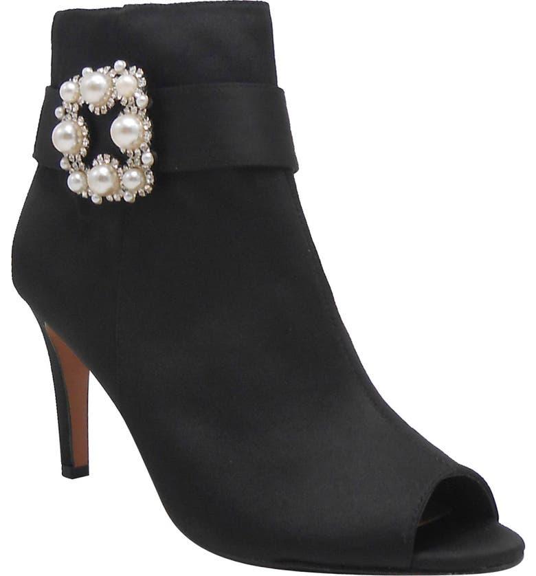 J. RENEÉ Pranati Embellished Open Toe Bootie, Main, color, BLACK SATIN