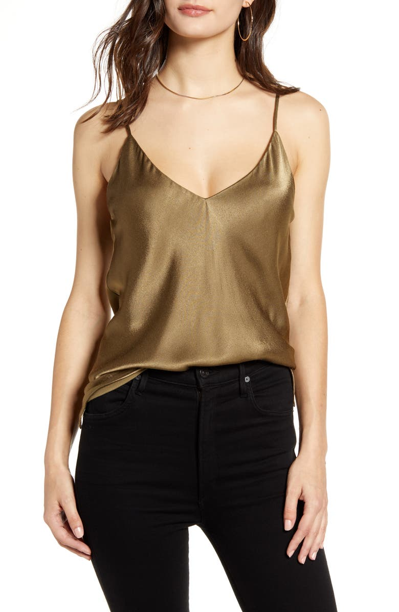 SOCIALITE V-Neck Satin Camisole, Main, color, OLIVE CAPERS 18-0820