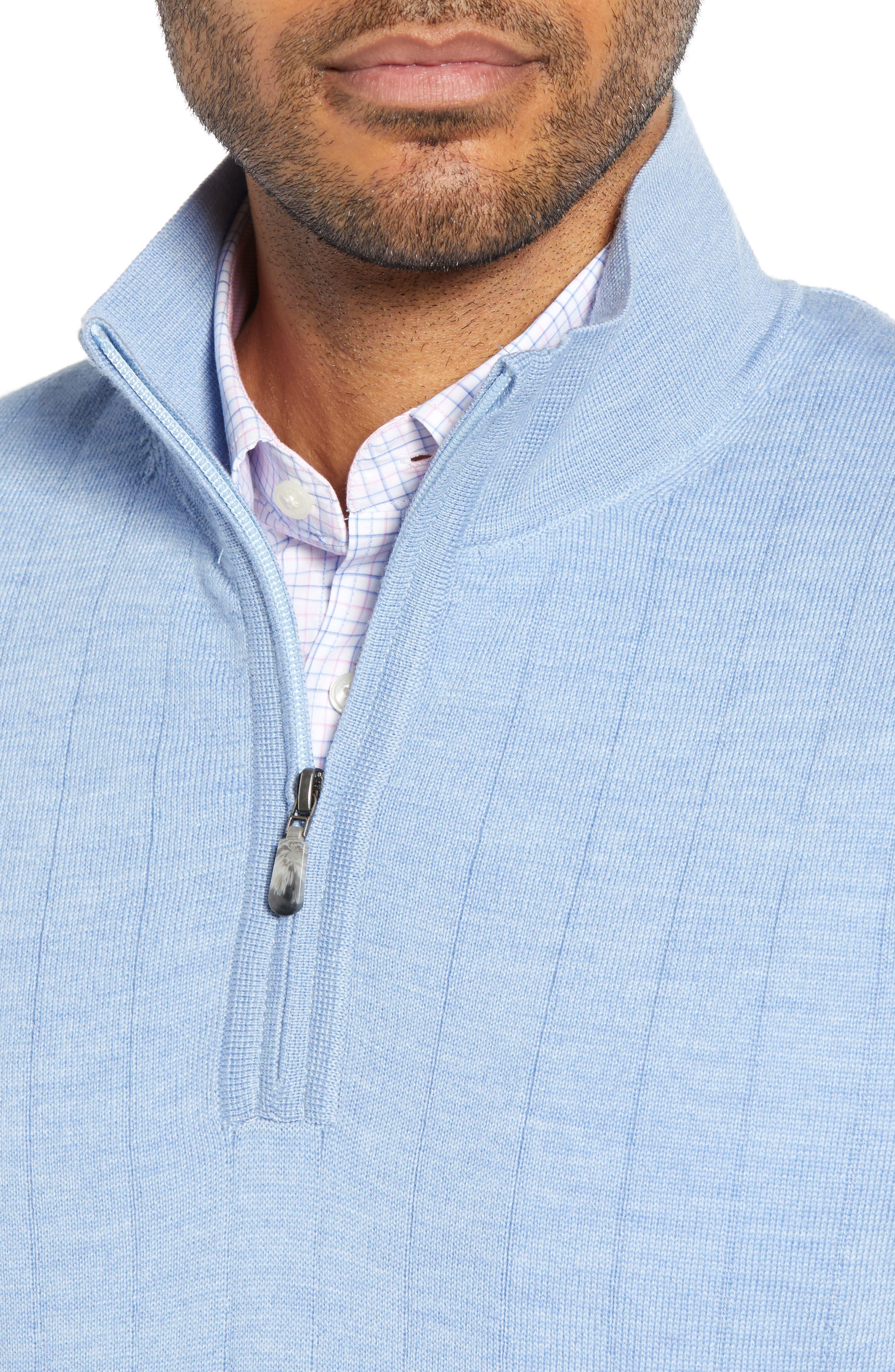 ,                             Quarter Zip Wool Sweater Vest,                             Alternate thumbnail 4, color,                             LIGHT BLUE