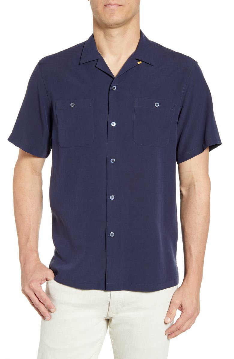 TORI RICHARD Aloha Clipper Classic Fit Short Sleeve Silk Blend Button-Up Shirt, Main, color, NAVY