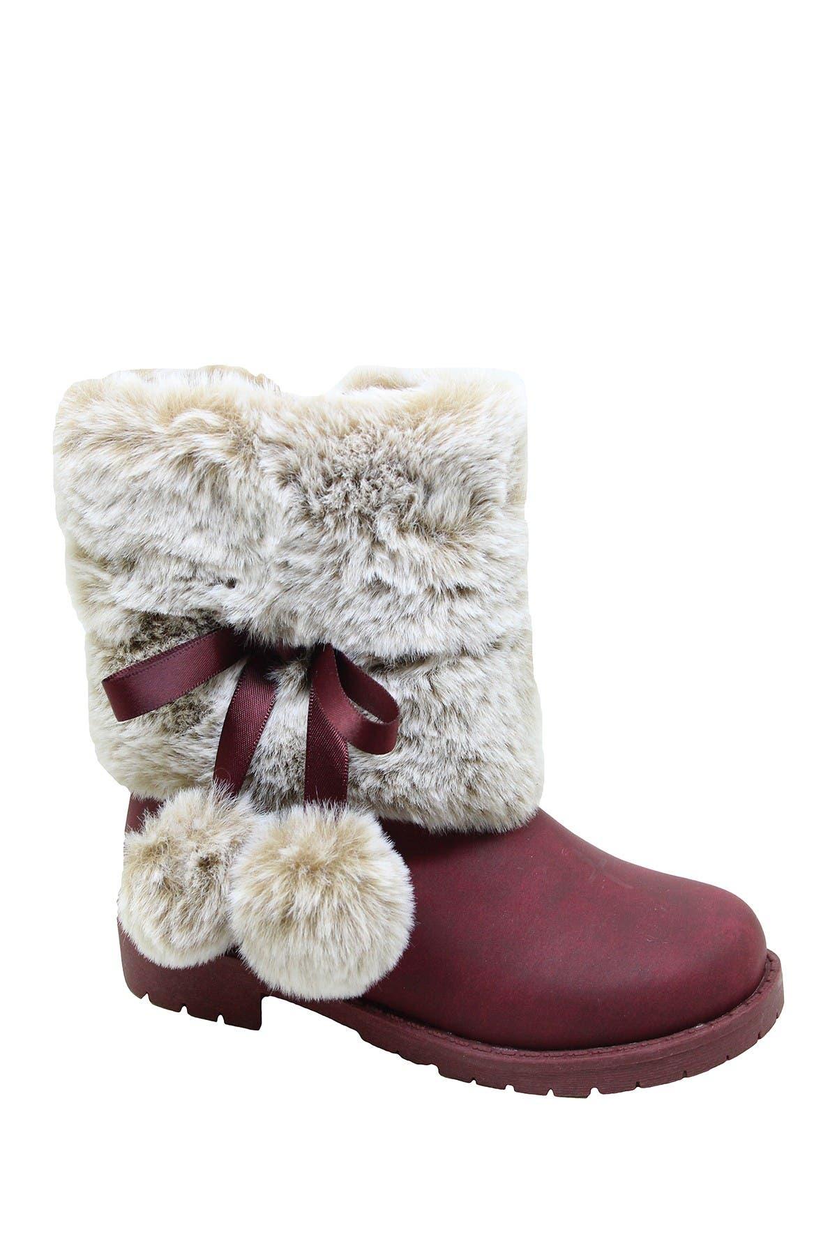 Nicole Miller Faux Fur Trimmed Pompom Boot