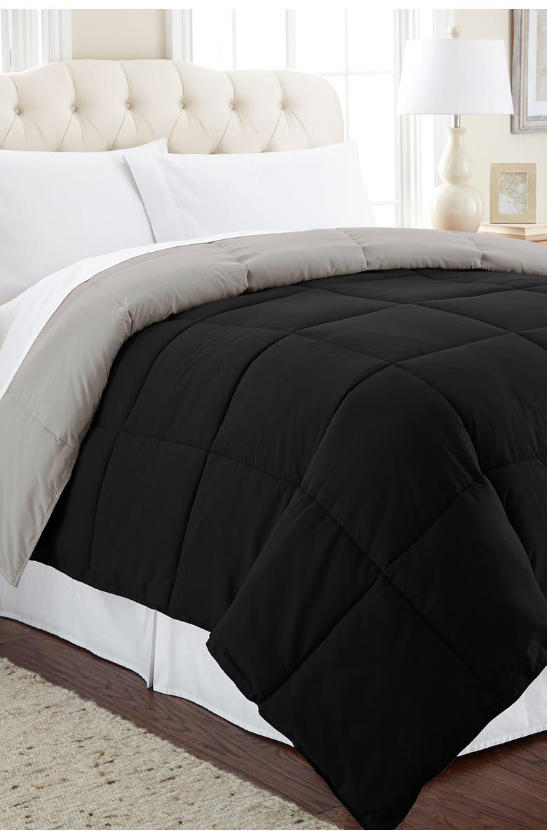 MODERN THREADS Down Alternative Reversible Queen Comforter - Anthracite/Silver, Main, color, ANTHRACITE/SILVER