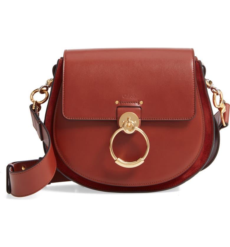 CHLOÉ Medium Tess Calfskin Leather Shoulder Bag, Main, color, SEPIA BROWN