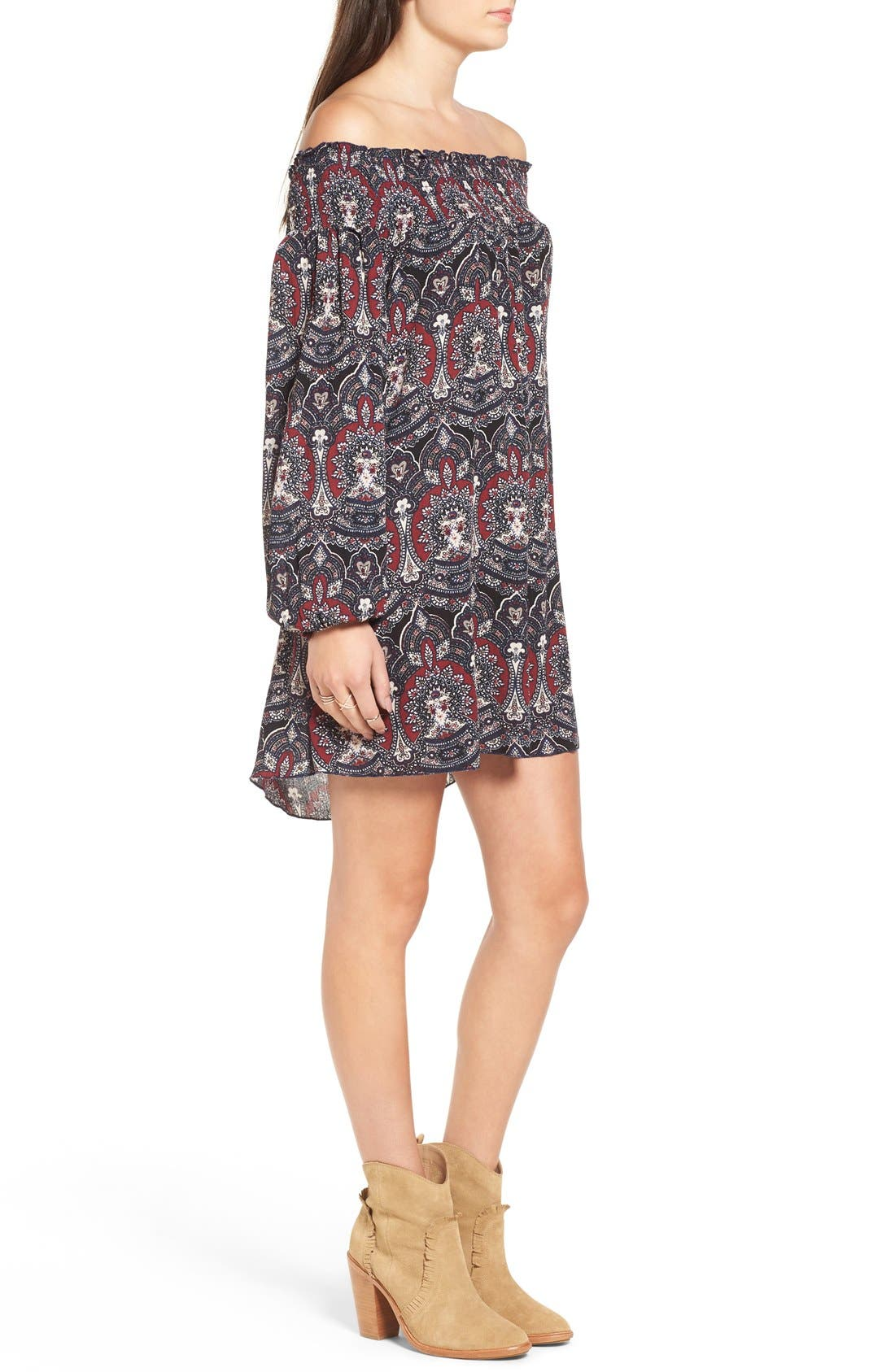 ,                             Floral Print Off the Shoulder Shift Dress,                             Alternate thumbnail 4, color,                             001