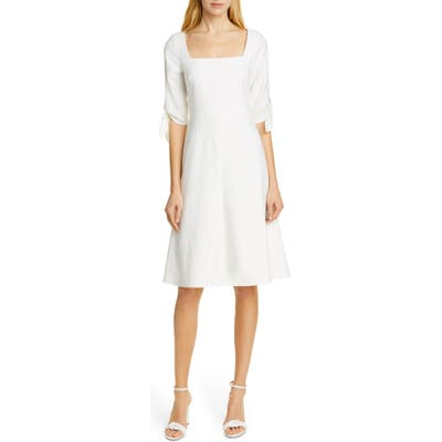Tailored By Rebecca Taylor Tie Sleeve Linen Blend Dress, Ivory