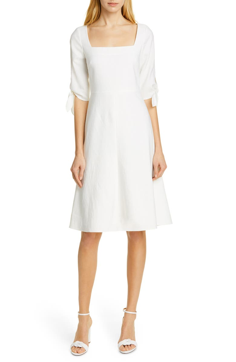 Tie Sleeve Linen Blend Dress by Tailored By Rebecca Taylor