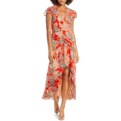Harlyn Floral High/low Velvet Burnout Dress, Red