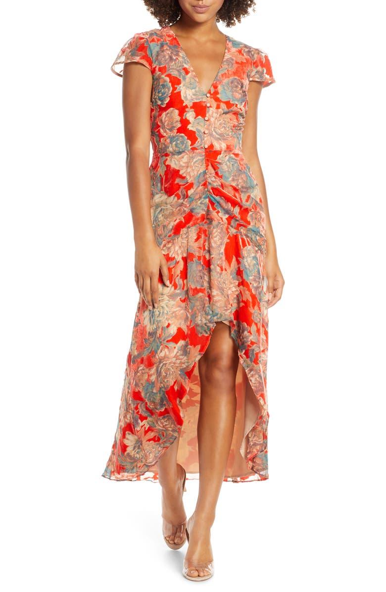 HARLYN Floral High/Low Velvet Burnout Dress, Main, color, RED MULTI