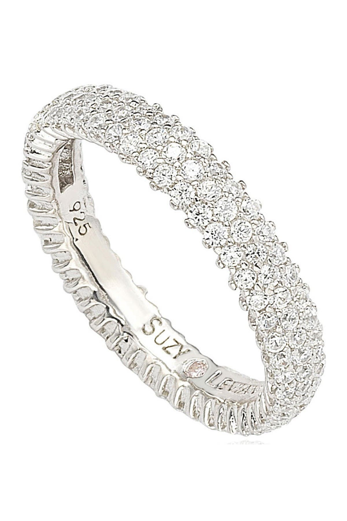 Image of Suzy Levian Sterling Silver Micro-Pave White CZ Eternity Band Ring