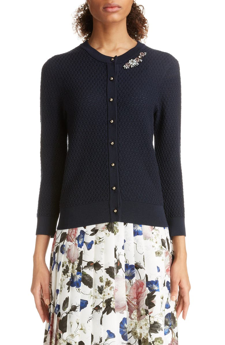 ERDEM Beaded Merino Wool Cardigan, Main, color, NAVY