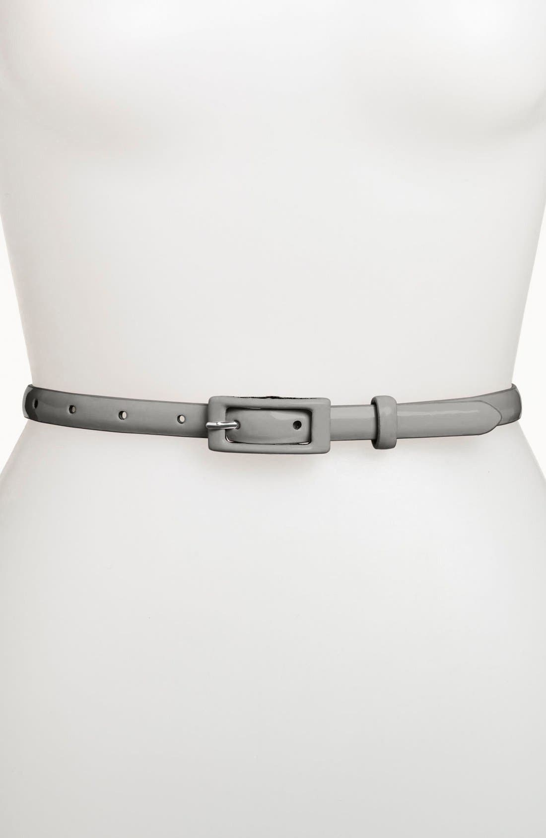 ,                             'Updated' Skinny Patent Belt,                             Main thumbnail 3, color,                             020