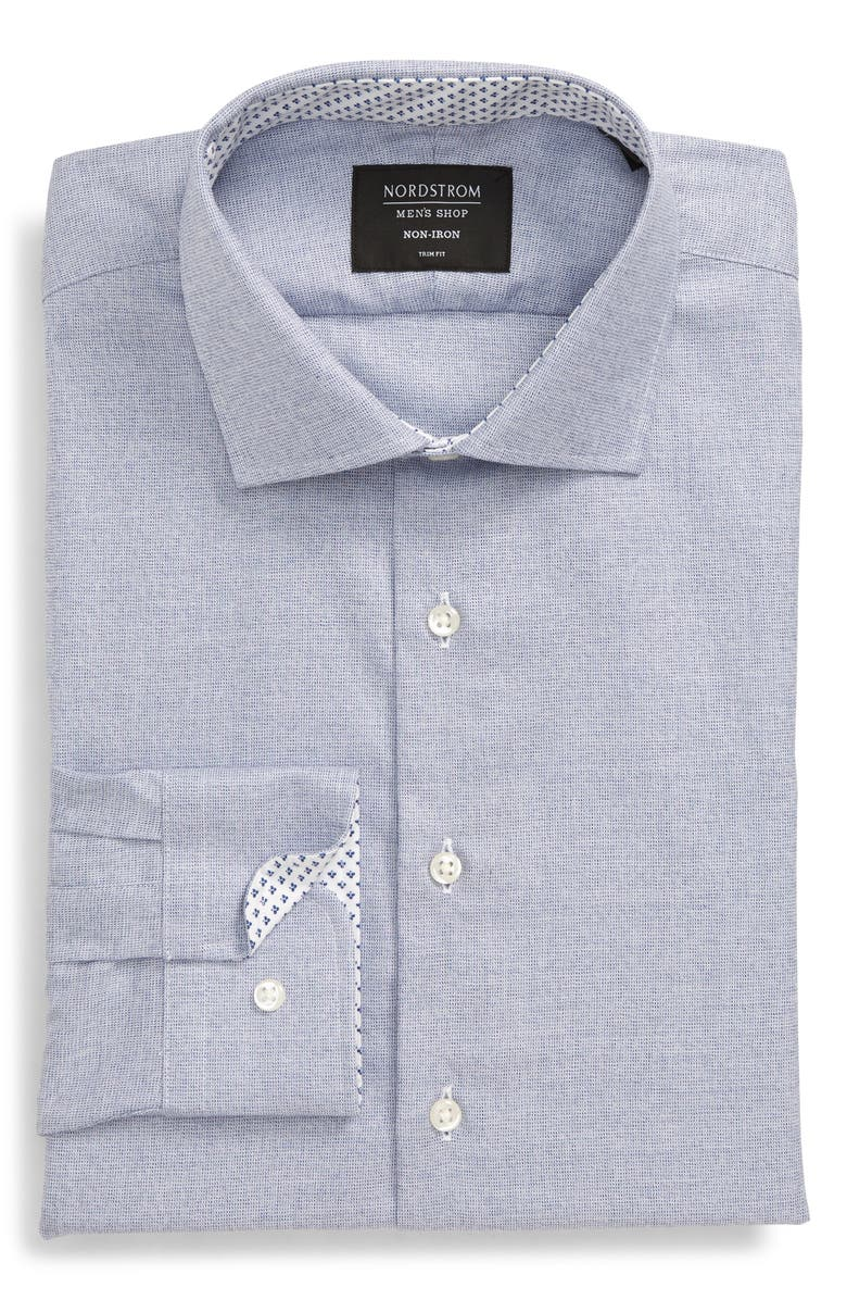 NORDSTROM MEN'S SHOP Trim Fit Non-Iron Dress Shirt, Main, color, BLUE FOREVER