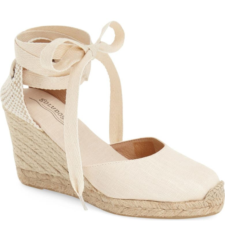 SOLUDOS Wedge Lace-Up Espadrille Sandal, Main, color, BLUSH LINEN