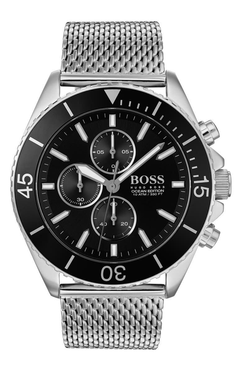 BOSS Ocean Edition Chronograph Mesh Strap Watch, 46mm, Main, color, SILVER/ BLACK/ SILVER