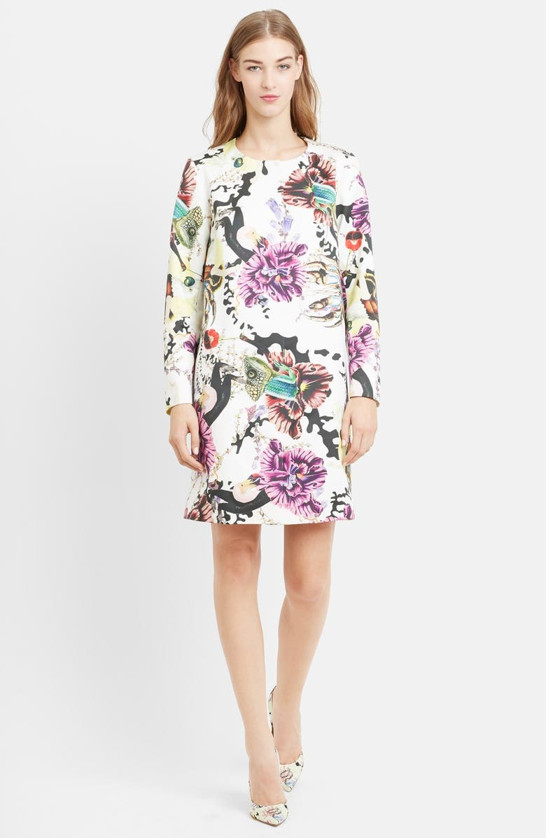 MARY KATRANTZOU A-Line Collarless Cotton Sateen Coat, Main, color, 110