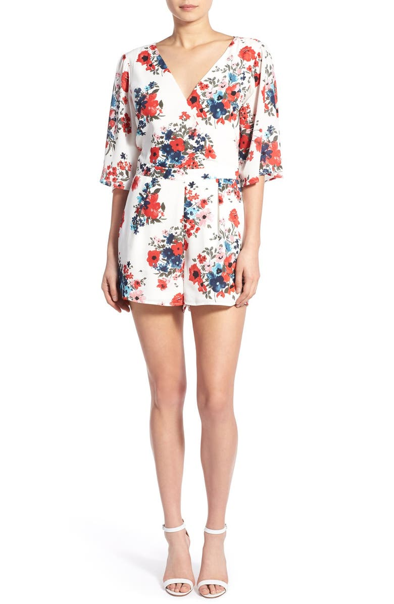 CUPCAKES AND CASHMERE 'Kirei' Floral Print Romper, Main, color, 100